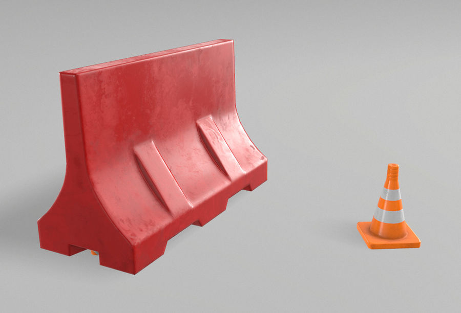 Road props royalty-free 3d model - Preview no. 4