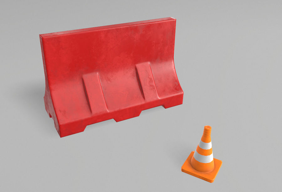 Road props royalty-free 3d model - Preview no. 3