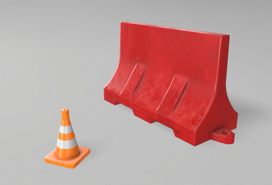 Road props royalty-free 3d model - Preview no. 1