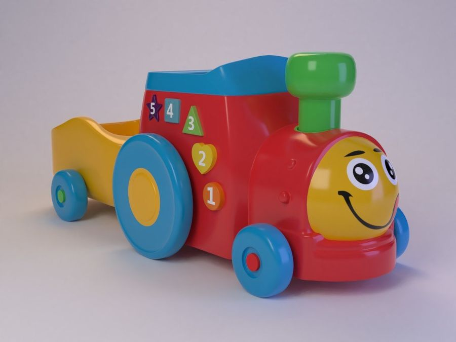 Cartoon Toy Train royalty-free 3d model - Preview no. 1