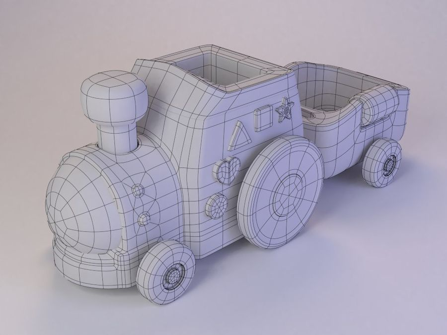 Cartoon Toy Train royalty-free 3d model - Preview no. 8
