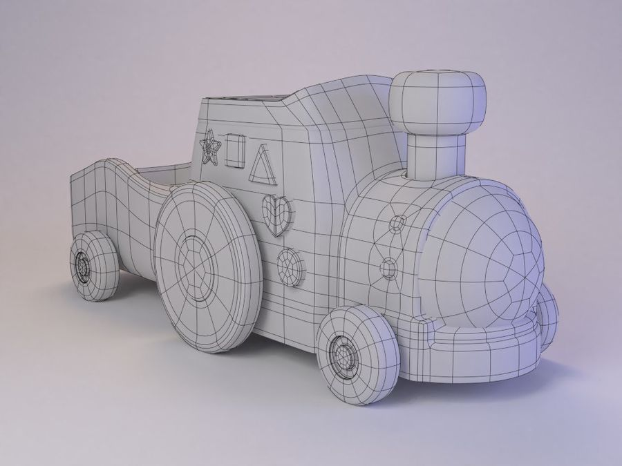 Cartoon Toy Train royalty-free 3d model - Preview no. 2