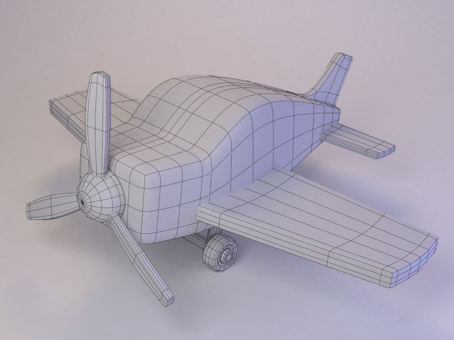 Cartoon Cute Toy Plane royalty-free 3d model - Preview no. 2