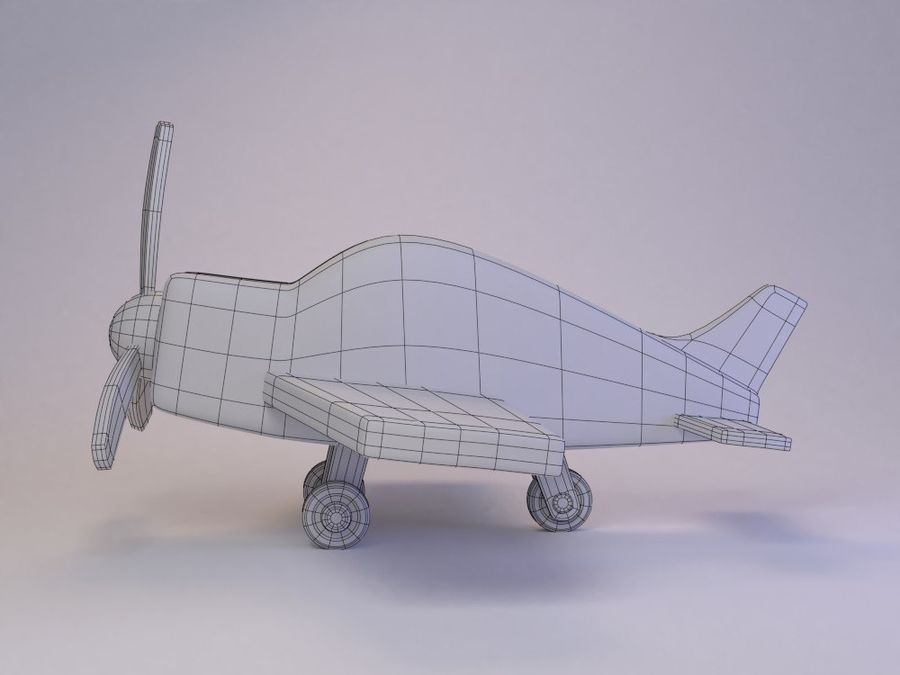 Cartoon Cute Toy Plane royalty-free 3d model - Preview no. 4