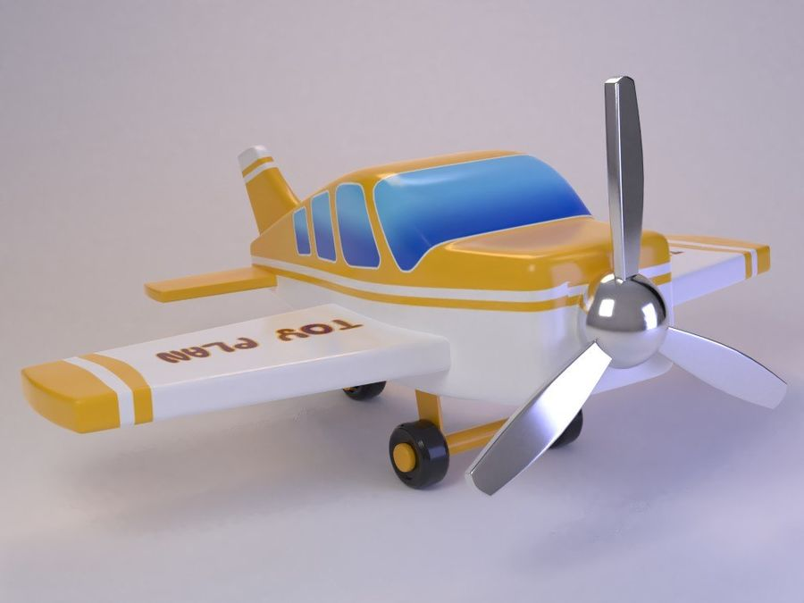Cartoon Cute Toy Plane royalty-free 3d model - Preview no. 7