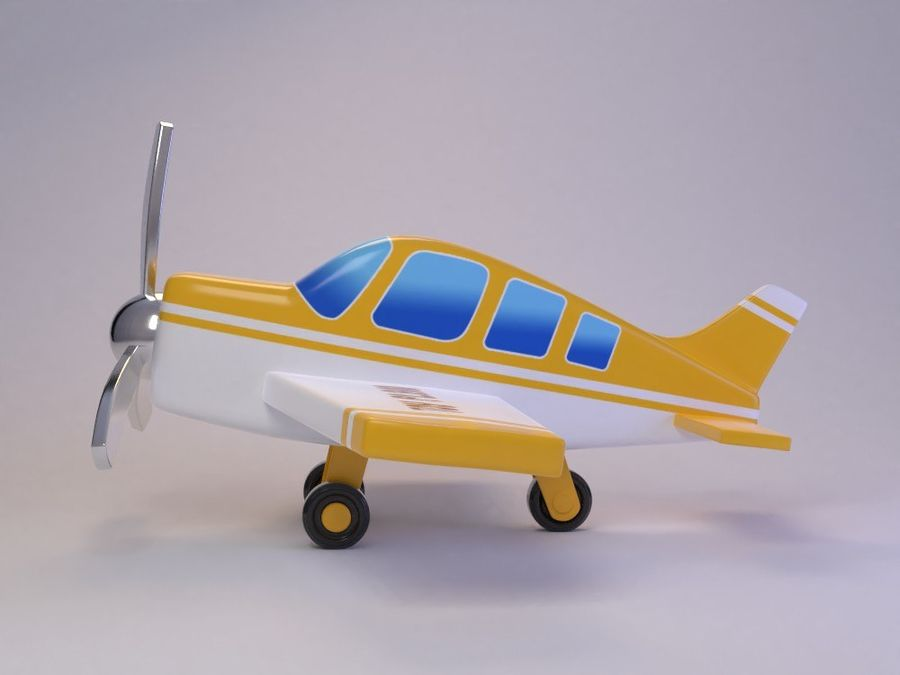 Cartoon Cute Toy Plane royalty-free 3d model - Preview no. 3