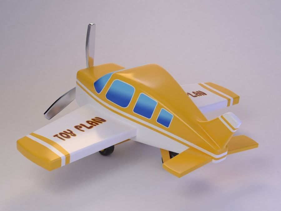 Cartoon Cute Toy Plane royalty-free 3d model - Preview no. 5