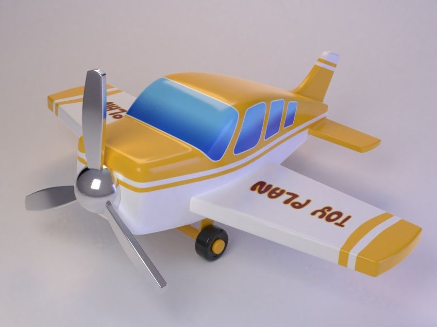 Cartoon Cute Toy Plane royalty-free 3d model - Preview no. 1