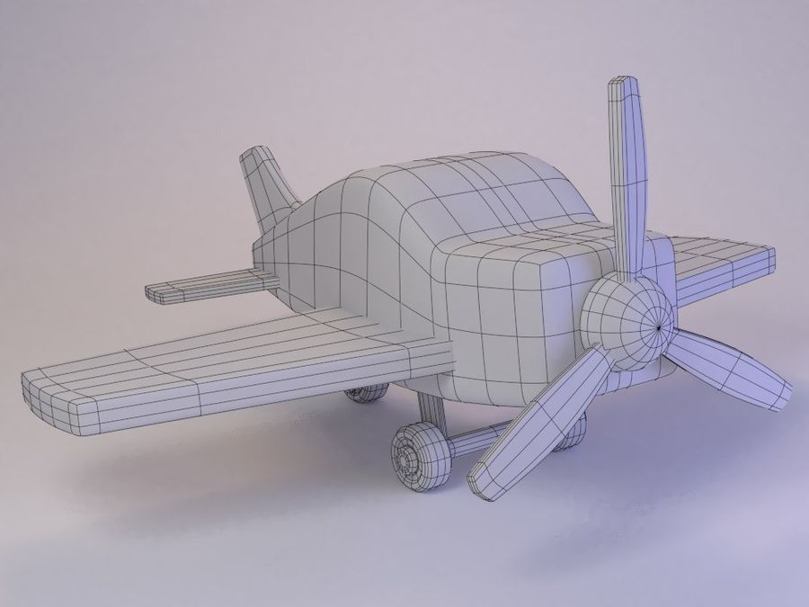 Cartoon Cute Toy Plane royalty-free 3d model - Preview no. 8