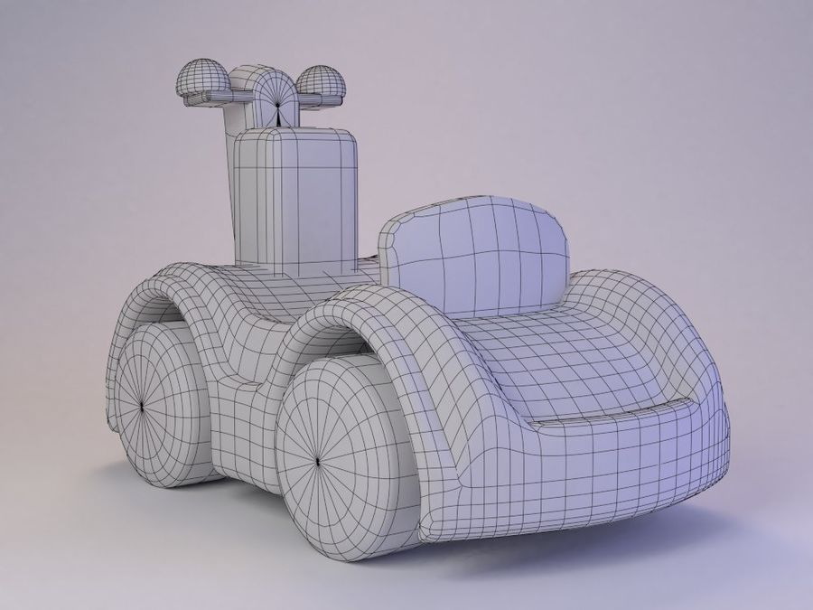 Toy Cartoon Cute Car royalty-free 3d model - Preview no. 2