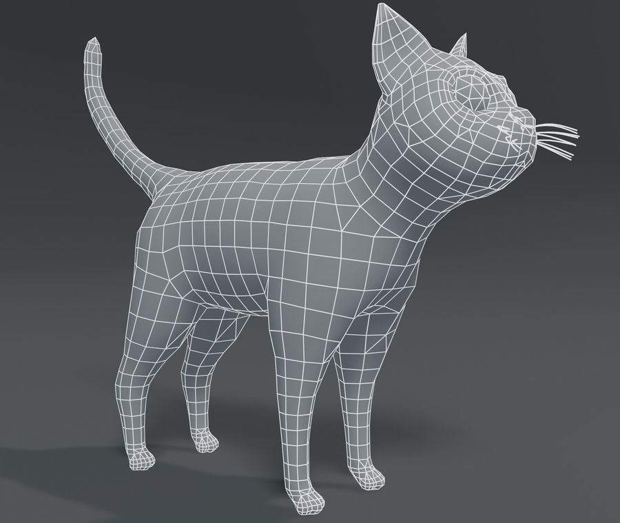Cartoon Cat Base Mesh 3D模型 royalty-free 3d model - Preview no. 20
