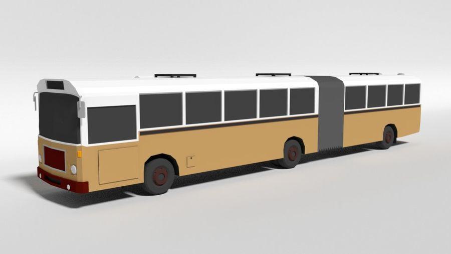 Retro Poly Cartoon Retro Bus royalty-free 3d model - Preview no. 1