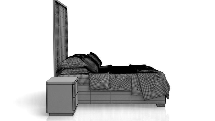 Bett mit Nachttisch royalty-free 3d model - Preview no. 14