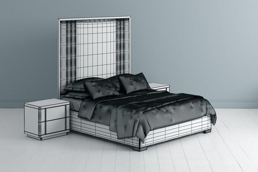 Bett mit Nachttisch royalty-free 3d model - Preview no. 3
