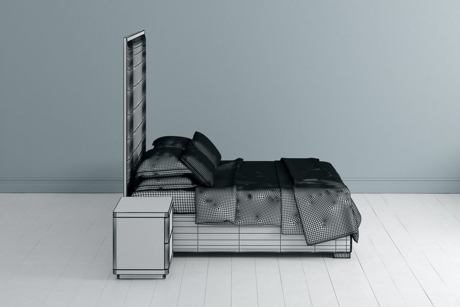 Letto con comodino royalty-free 3d model - Preview no. 4