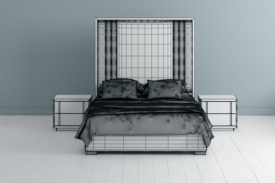 Letto con comodino royalty-free 3d model - Preview no. 2