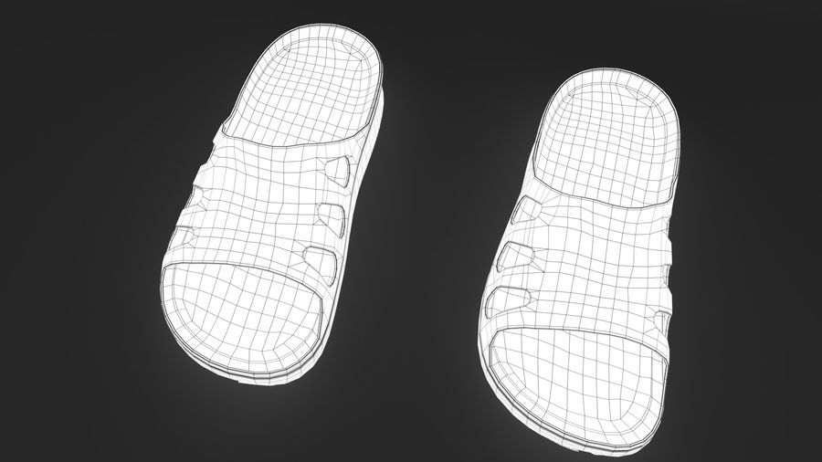 Slippers shoes royalty-free 3d model - Preview no. 12