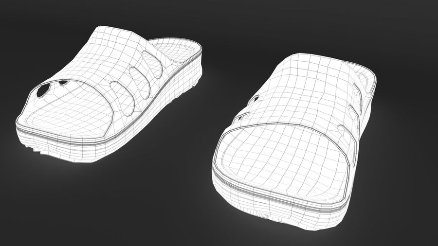 Slippers shoes royalty-free 3d model - Preview no. 11