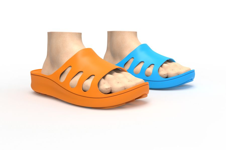 Slippers shoes royalty-free 3d model - Preview no. 8