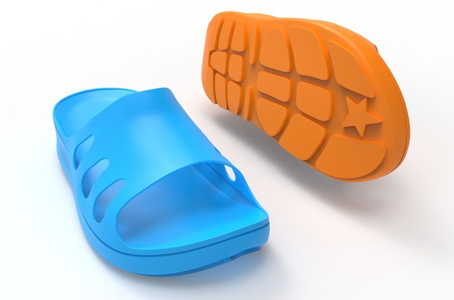 Slippers shoes royalty-free 3d model - Preview no. 2
