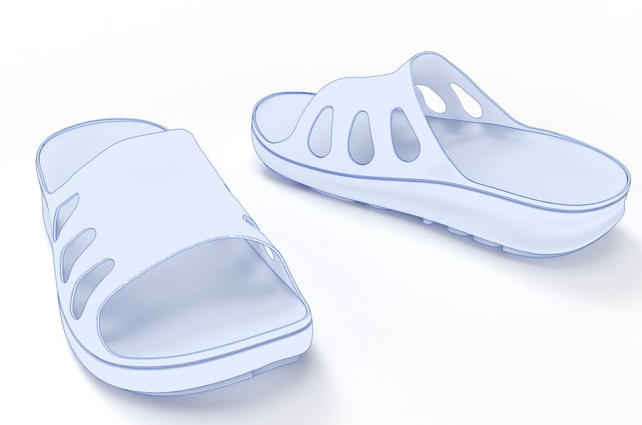Slippers shoes royalty-free 3d model - Preview no. 9