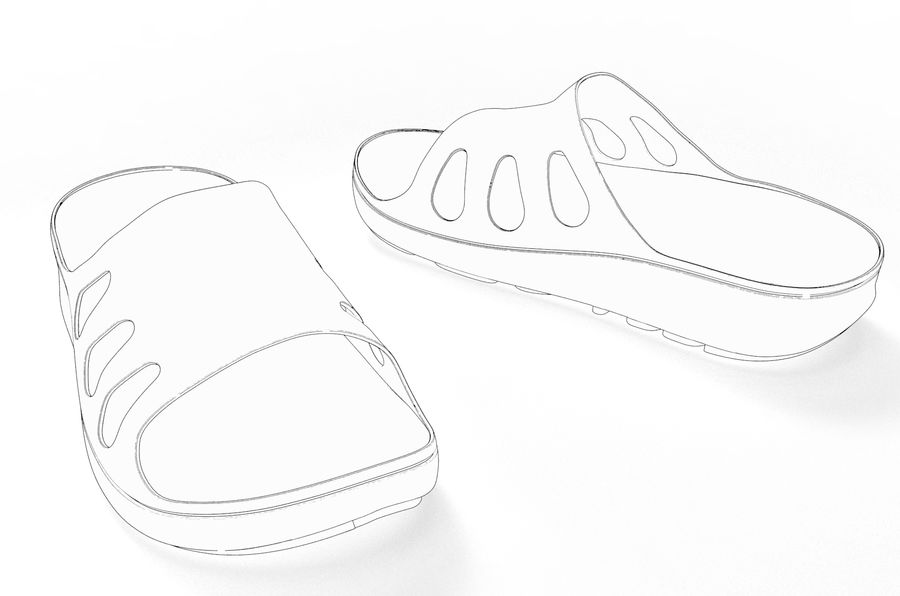 Slippers shoes royalty-free 3d model - Preview no. 10