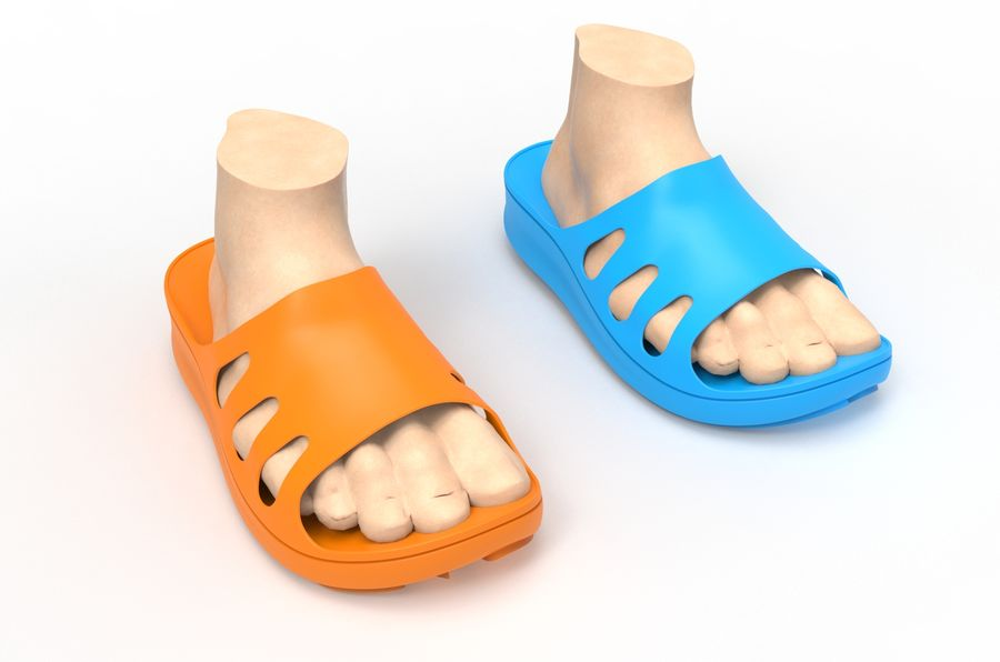 Slippers shoes royalty-free 3d model - Preview no. 7