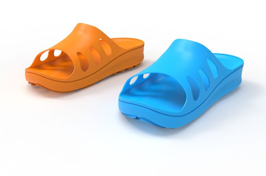 Slippers shoes royalty-free 3d model - Preview no. 3