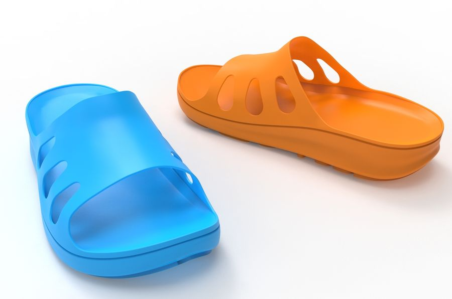 Slippers shoes royalty-free 3d model - Preview no. 5
