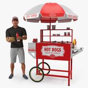 Тележка для хот-догов с продавцом, приспособленная для Maya 3d model