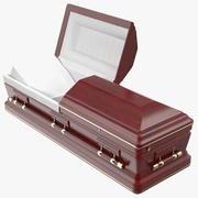 Opened Wooden Funeral Casket 3d model