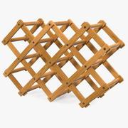 Foldable Wooden Wine Bottle Rack 3d model