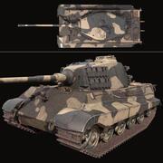 King Tiger tank low poly 3d model