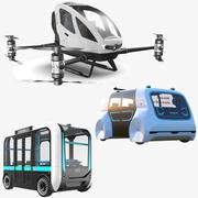 Drei autonome Fahrzeuge 3d model