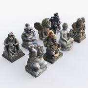 Kolekcja statuetek z Bali 3d model