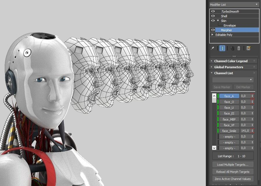 Robot Cyborg Humanoid royalty-free 3d model - Preview no. 8