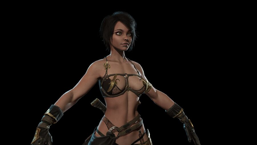 Gra AssassinGirl gotowa royalty-free 3d model - Preview no. 11