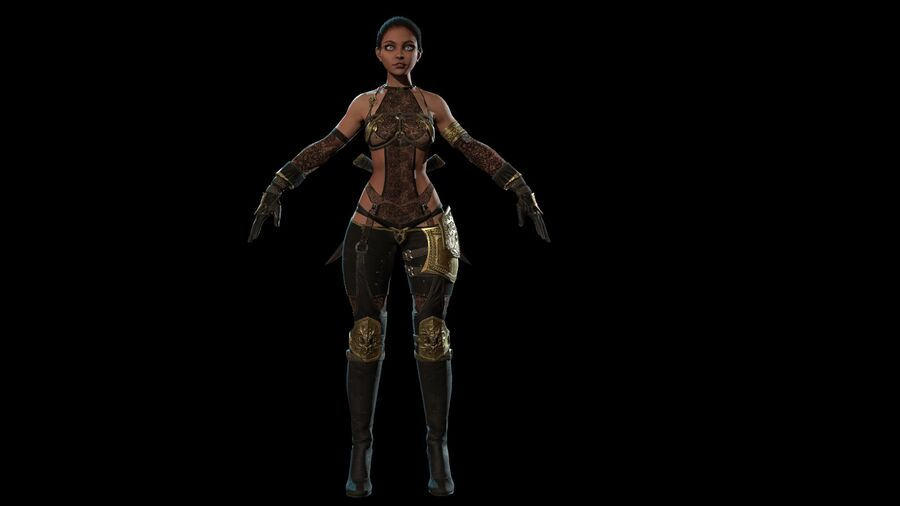 Gra AssassinGirl gotowa royalty-free 3d model - Preview no. 3