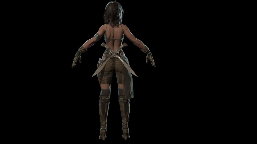 Gra AssassinGirl gotowa royalty-free 3d model - Preview no. 14