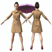 Girl with umbrella 3d model