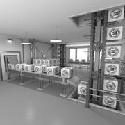 Cena animada de fábrica de interiores 3d model