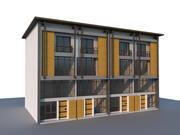 Architecture moderne, maison de ville, maison en rangée ou maison de magasin. Style de bâtiment contemporain. 3d model