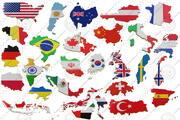 Mapa da fronteira terrestre dos países mais populares com bandeira 3d model