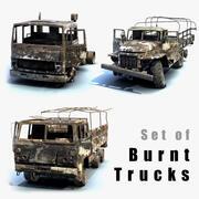 Lastbilar brända set 3d model