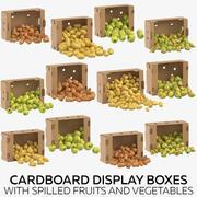 Scatole di cartone con frutta e verdura versate 3d model