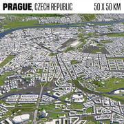 Prague République tchèque 50x50km 3d model