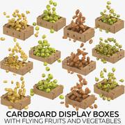 Caixas de papelão com frutas e vegetais voando 3d model