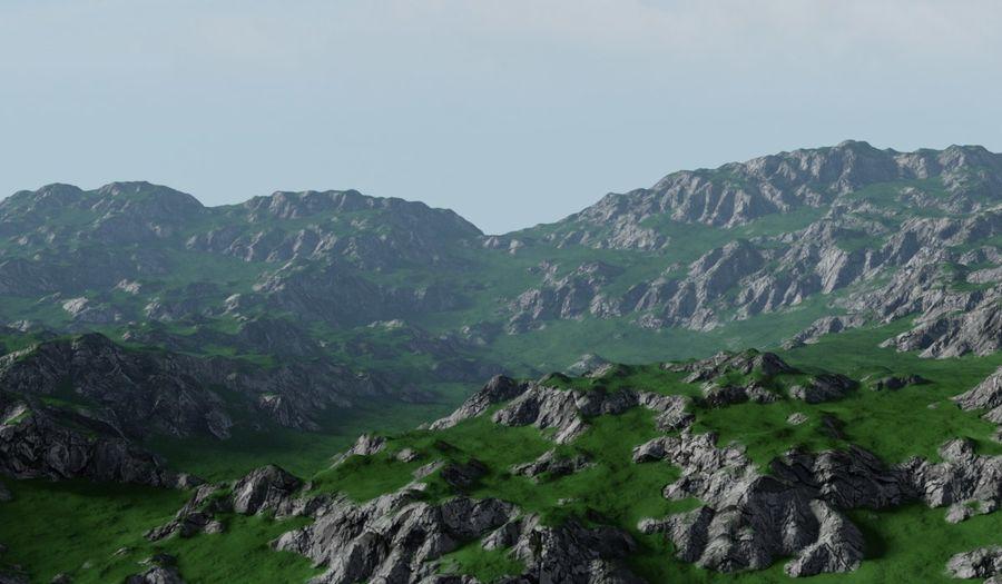 Горный Камень Трава Пейзаж royalty-free 3d model - Preview no. 3