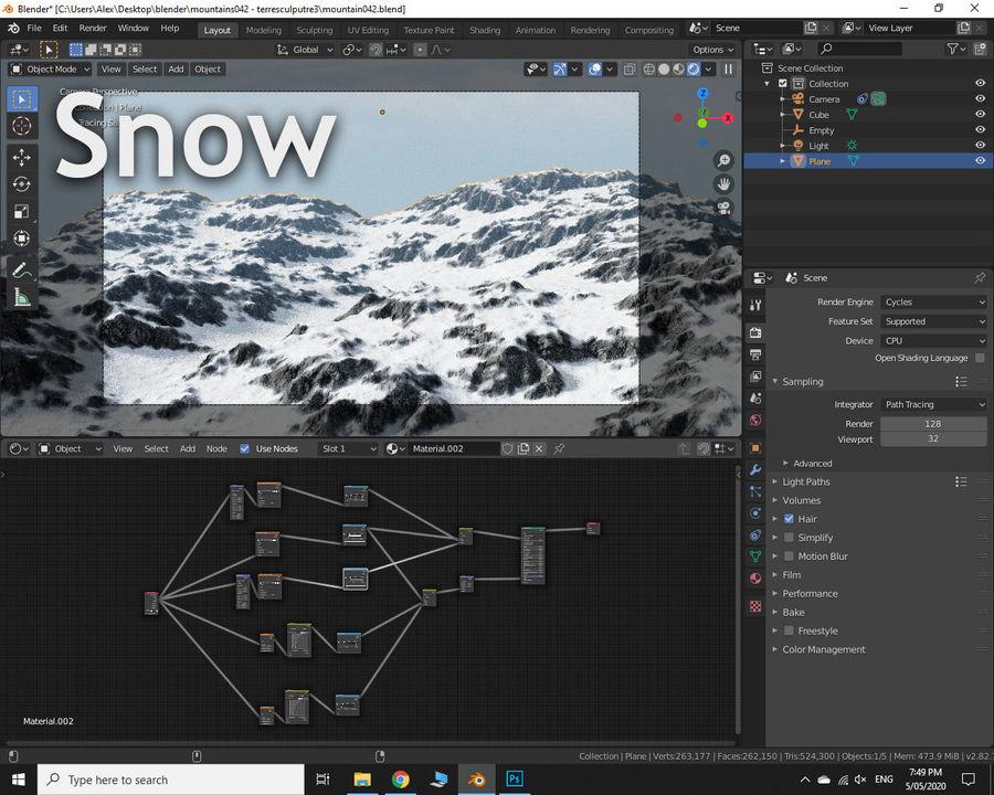Горный Камень Трава Пейзаж royalty-free 3d model - Preview no. 8