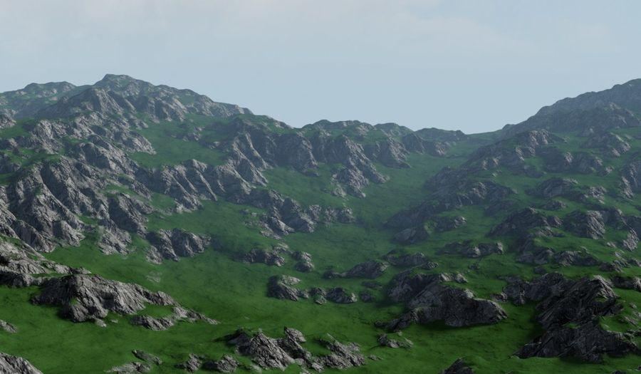 Горный Камень Трава Пейзаж royalty-free 3d model - Preview no. 1